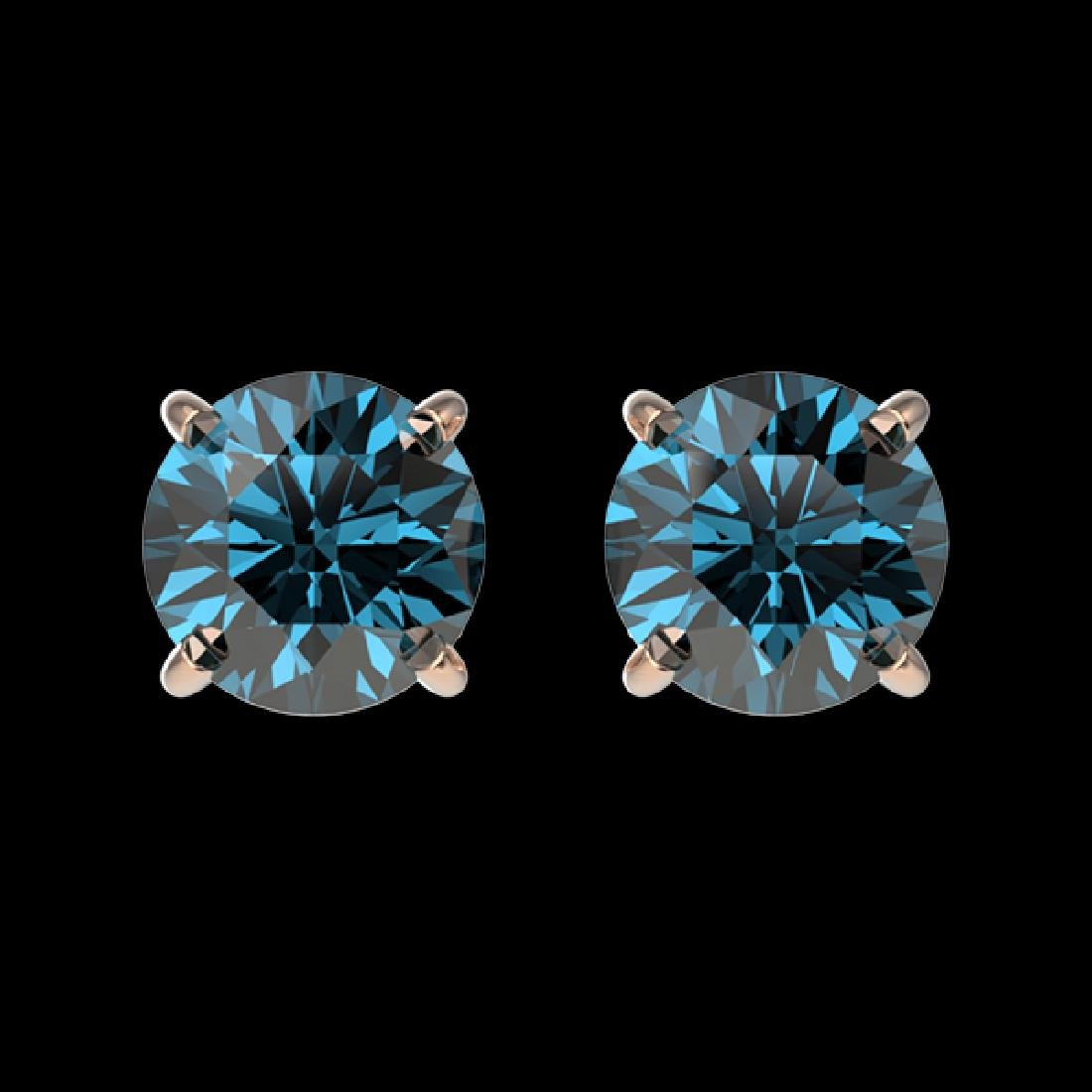 1 CTW Certified Intense Blue SI Diamond Solitaire Stud