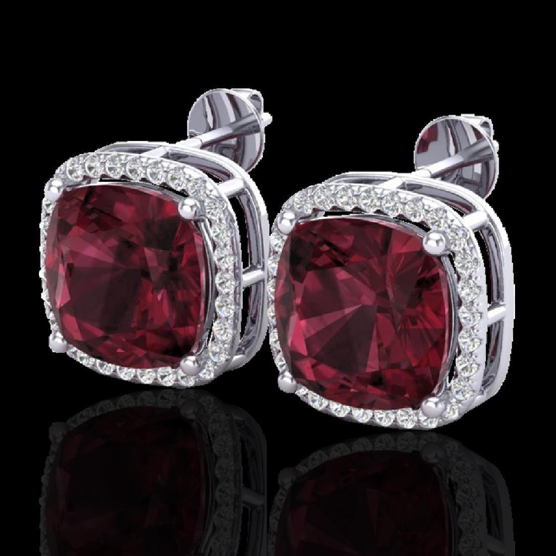 12 CTW Garnet & Micro Pave Halo VS/SI Diamond Earrings