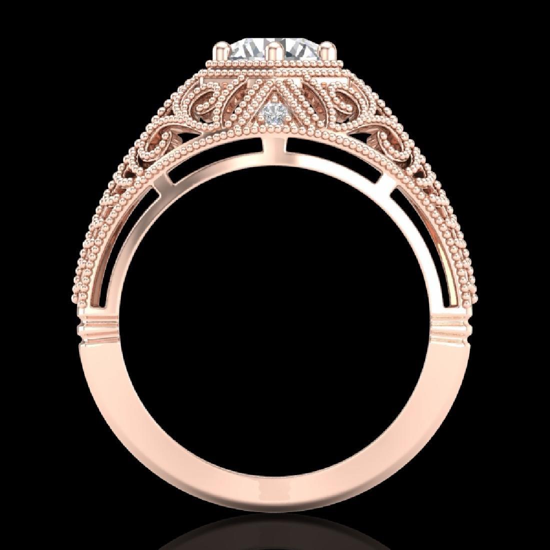 1.07 CTW VS/SI Diamond Solitaire Art Deco Ring 18K Rose