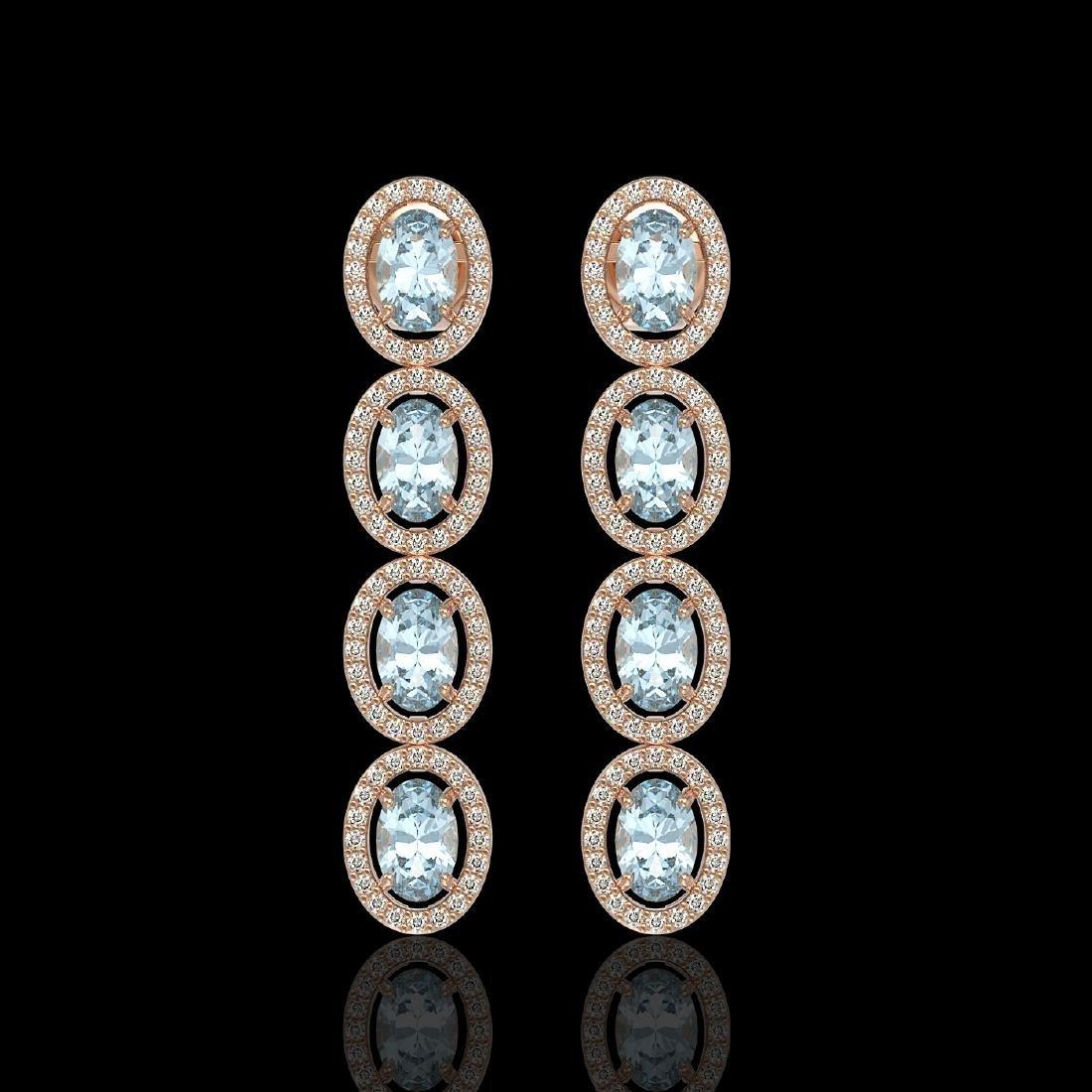 4.68 CTW Aquamarine & Diamond Halo Earrings 10K Rose