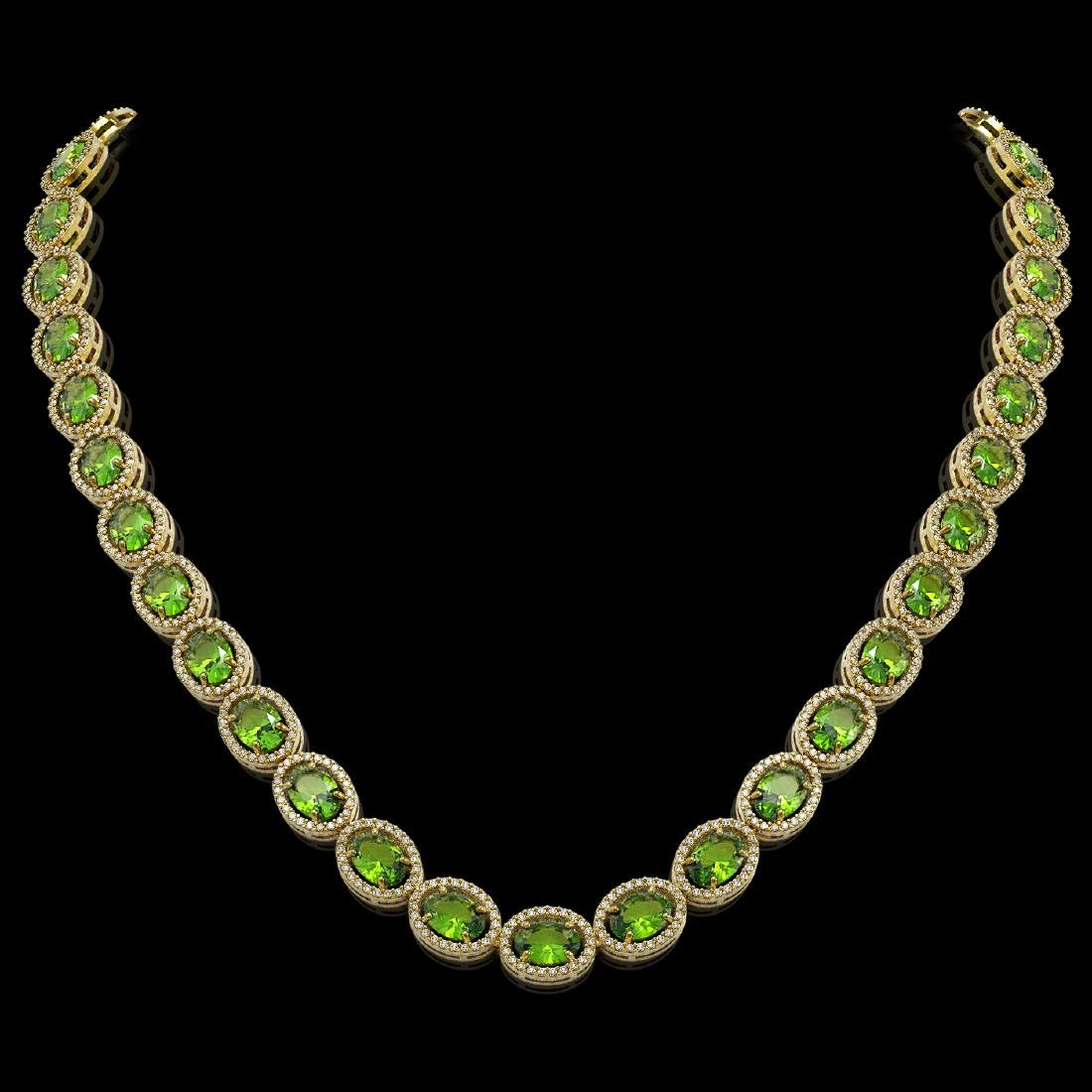 48.14 CTW Peridot & Diamond Halo Necklace 10K Yellow
