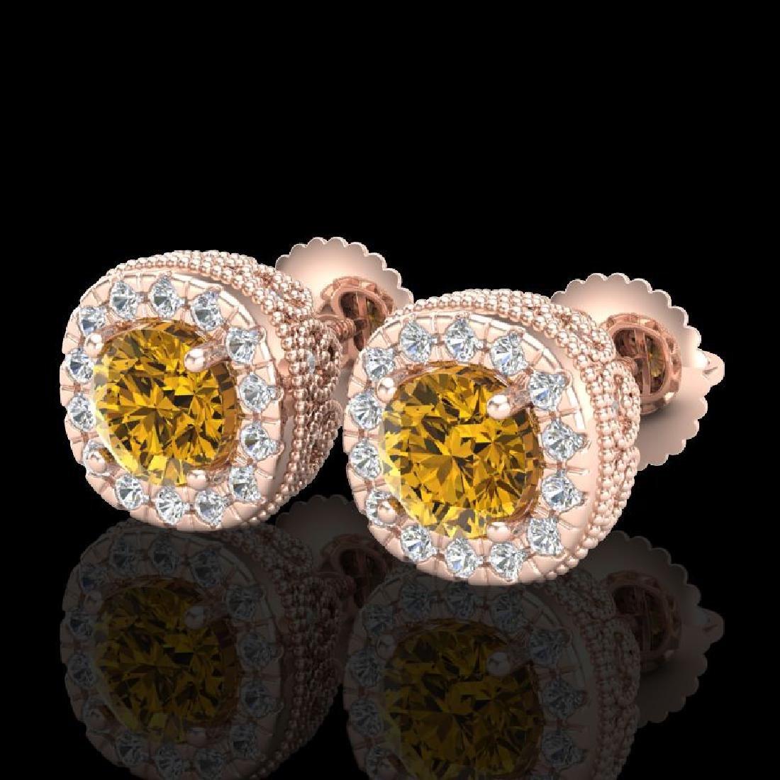 1.69 CTW Intense Fancy Yellow Diamond Art Deco Stud