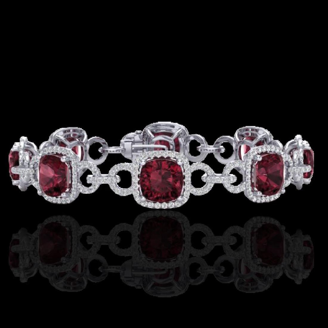 30 CTW Garnet & Micro VS/SI Diamond Bracelet 14K White