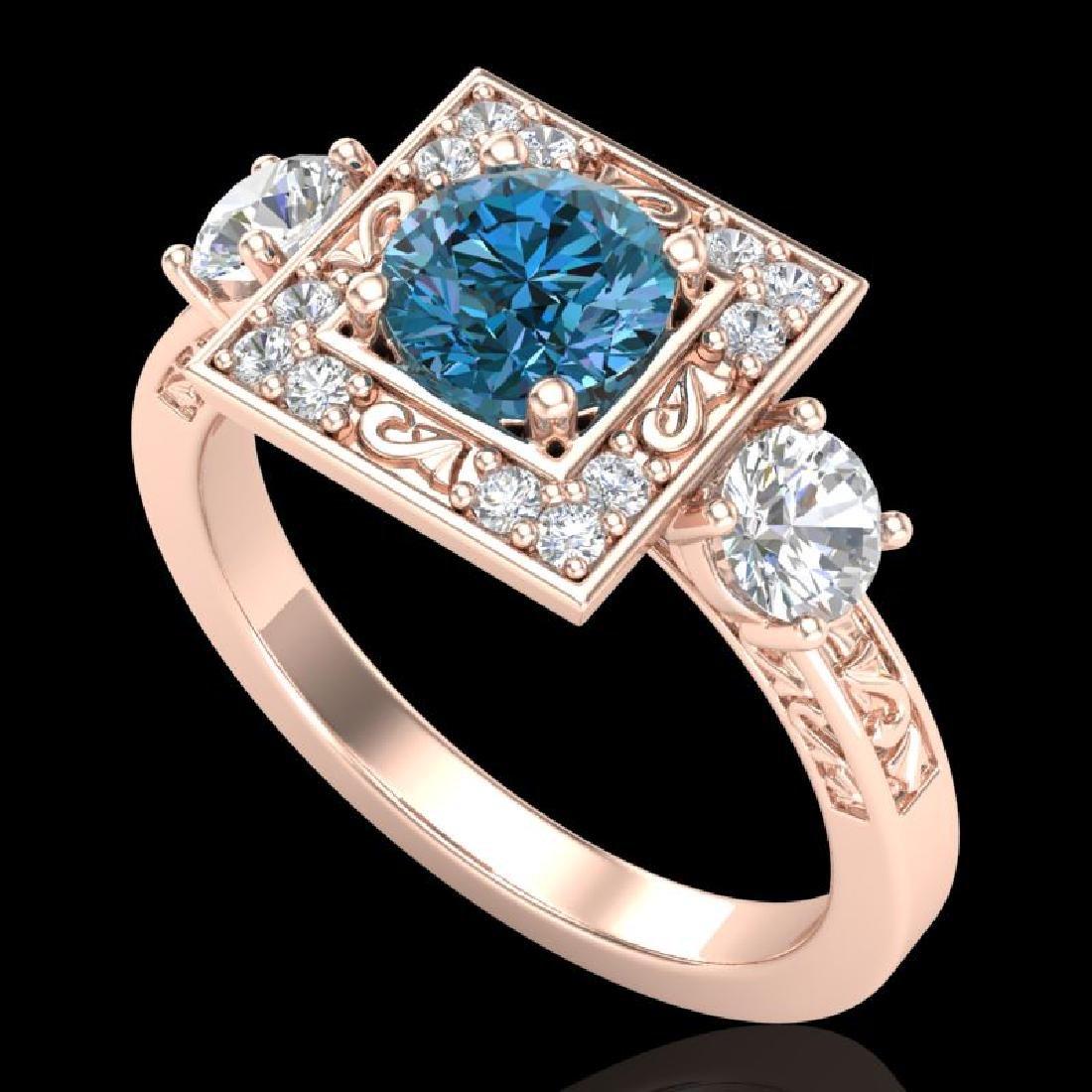 1.55 CTW Intense Blue Diamond Solitaire Art Deco 3