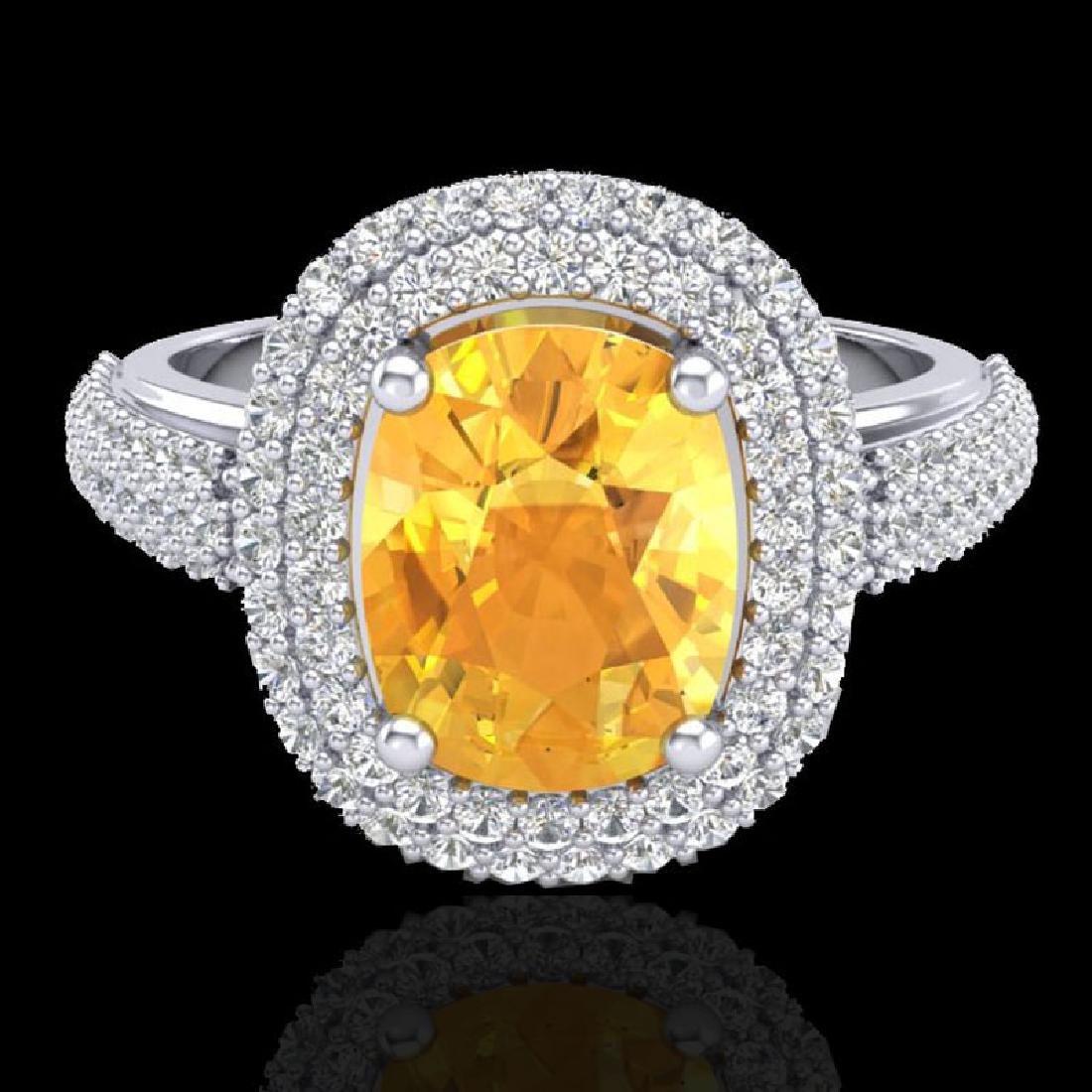 3.50 CTW Citrine & Micro Pave VS/SI Diamond Halo Ring