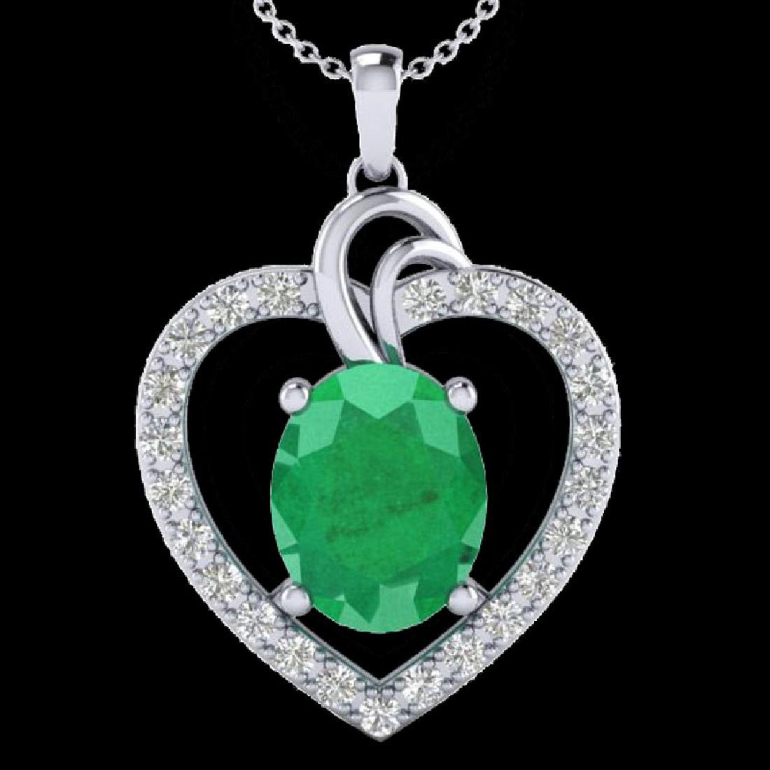 4 CTW Emerald & VS/SI Diamond Designer Inspired Heart