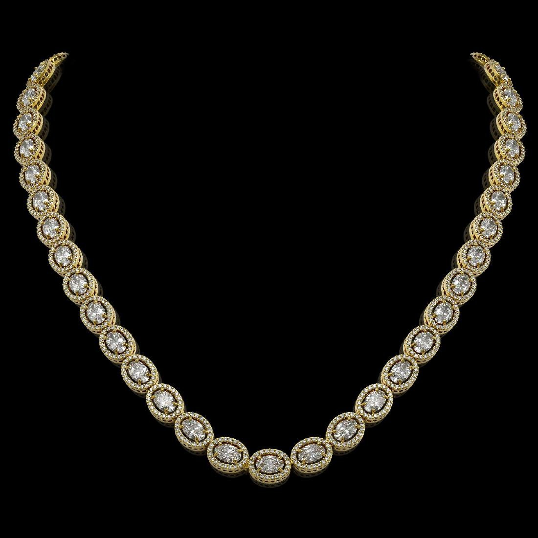 30.41 CTW Oval Diamond Designer Necklace 18K Yellow