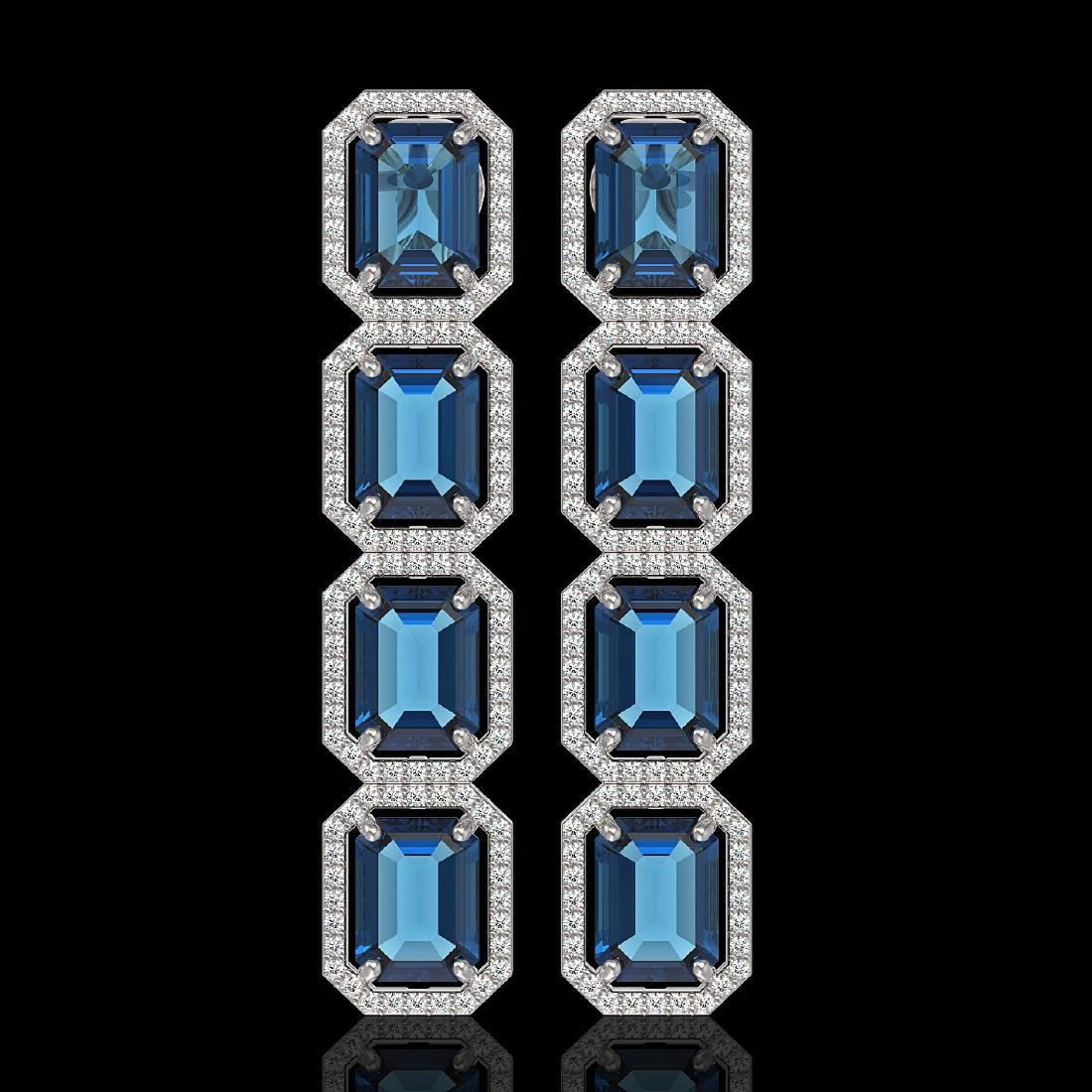 18.99 CTW London Topaz & Diamond Halo Earrings 10K