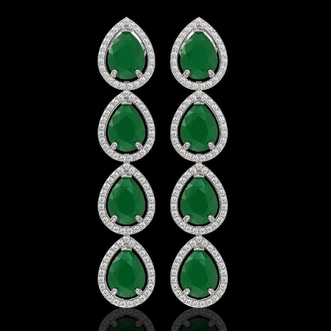 16.01 CTW Emerald & Diamond Halo Earrings 10K White