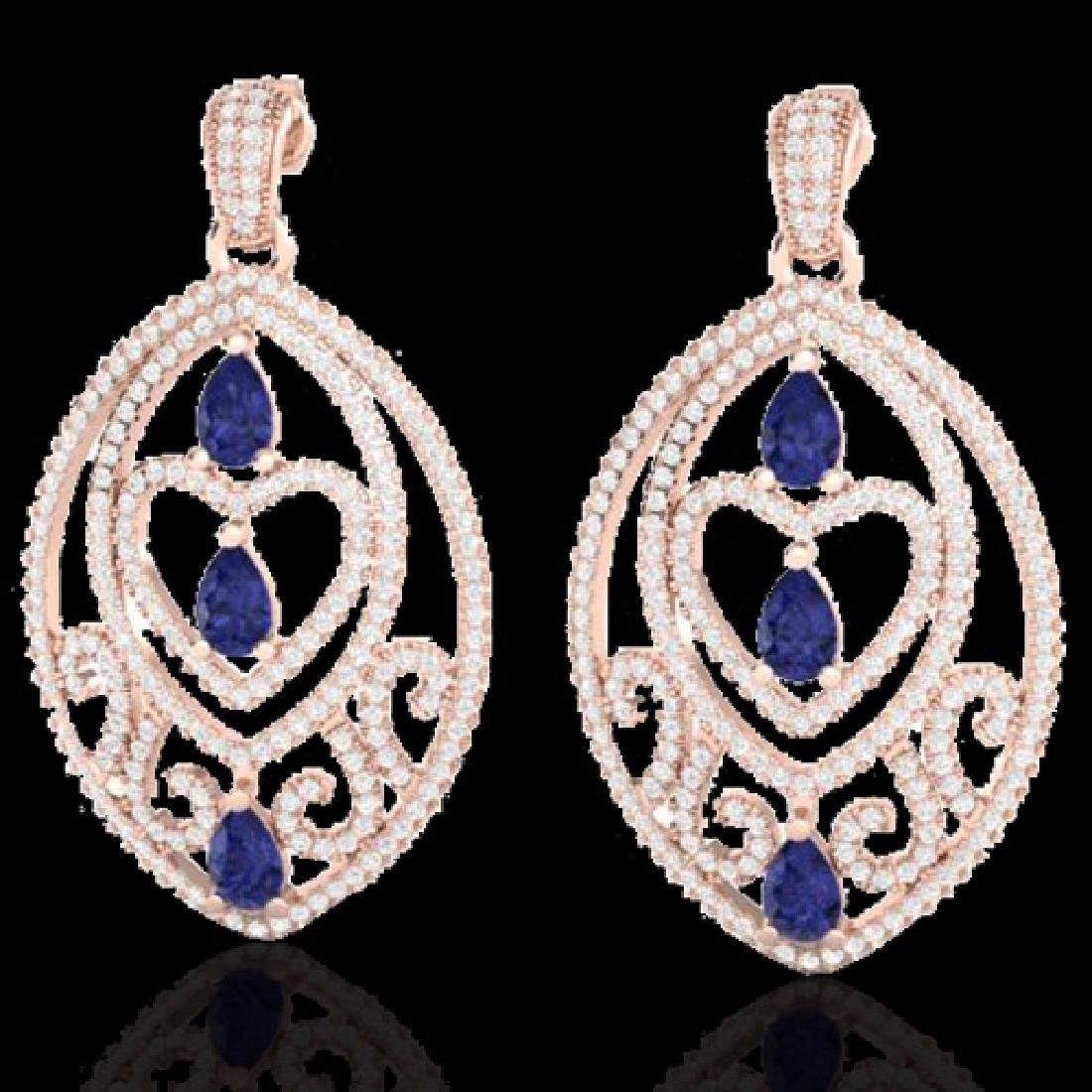 7 CTW Tanzanite & Micro Pave VS/SI Diamond Heart