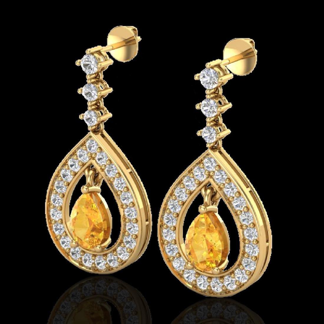 2.25 CTW Citrine & Micro Pave VS/SI Diamond Earrings