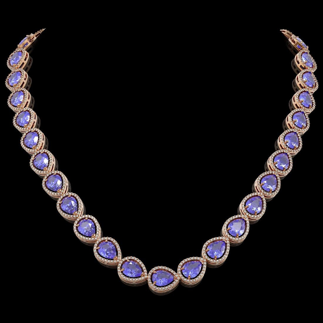 44.8 CTW Tanzanite & Diamond Halo Necklace 10K Rose