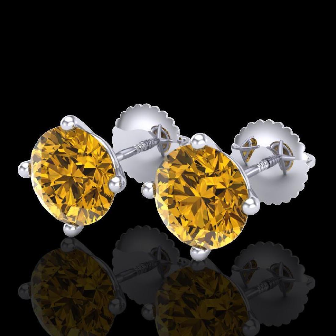3.01 CTW Intense Fancy Yellow Diamond Art Deco Stud