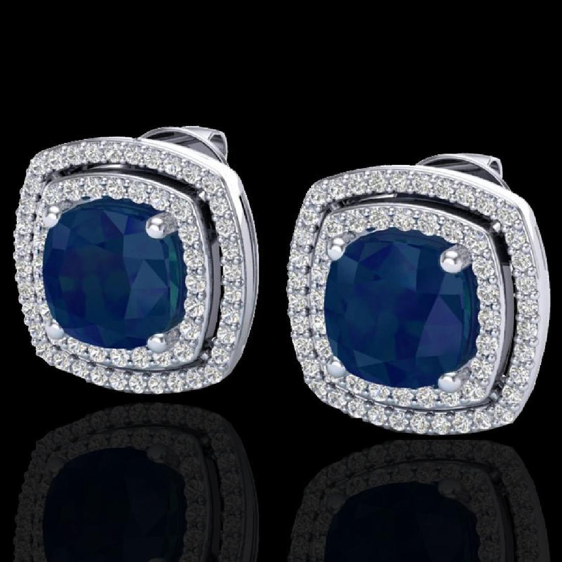 4.95 CTW Sapphire & Micro Pave VS/SI Diamond Halo