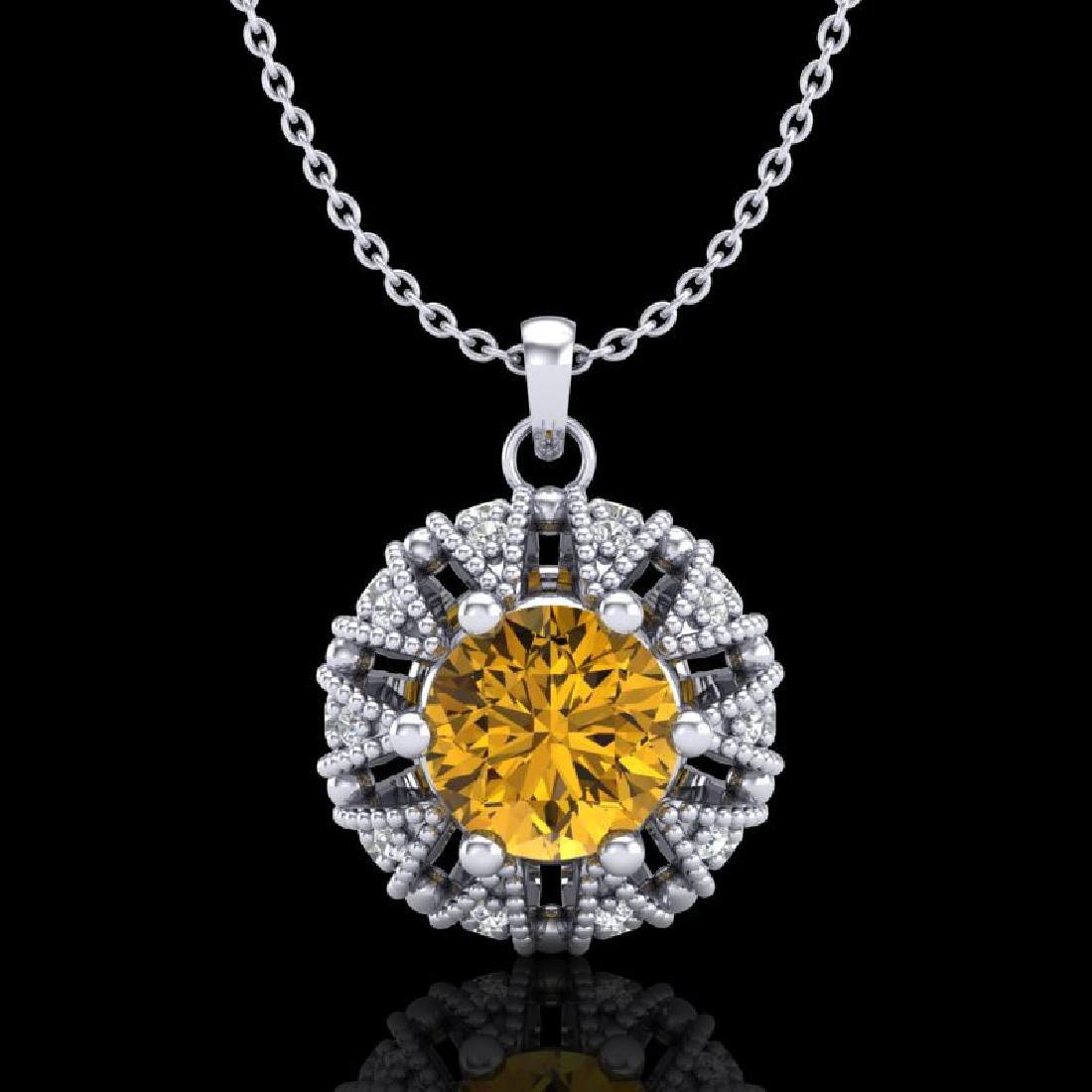 1.2 CTW Intense Fancy Yellow Diamond Art Deco Stud