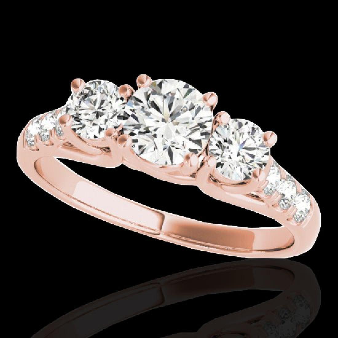 3.25 CTW H-SI/I Certified Diamond 3 Stone Ring 10K Rose