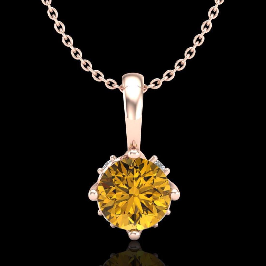 0.62 CTW Intense Fancy Yellow Diamond Art Deco Stud