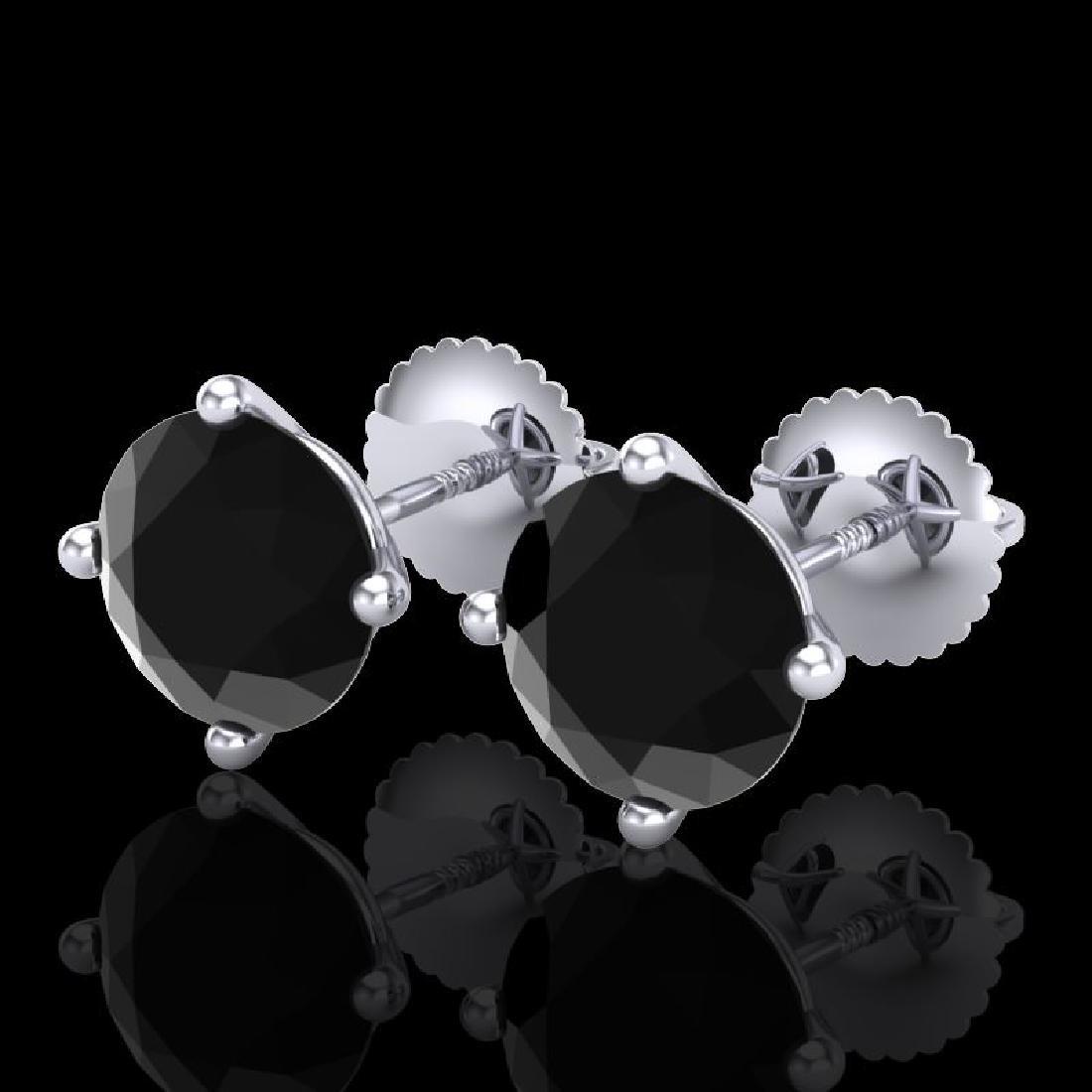 3.01 CTW Fancy Black Diamond Solitaire Art Deco Stud