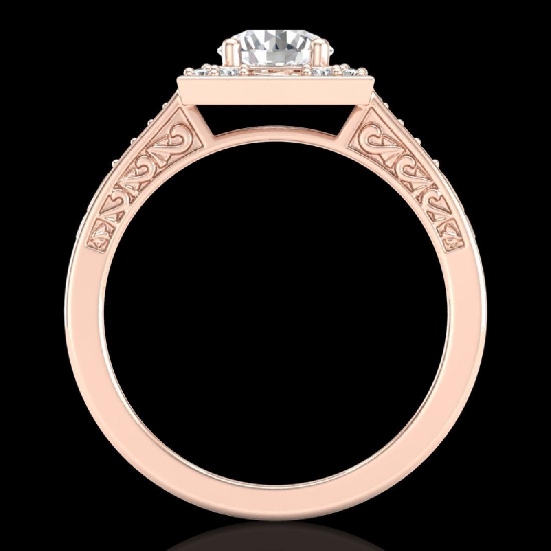 1.1 CTW VS/SI Diamond Art Deco Ring 18K Rose Gold