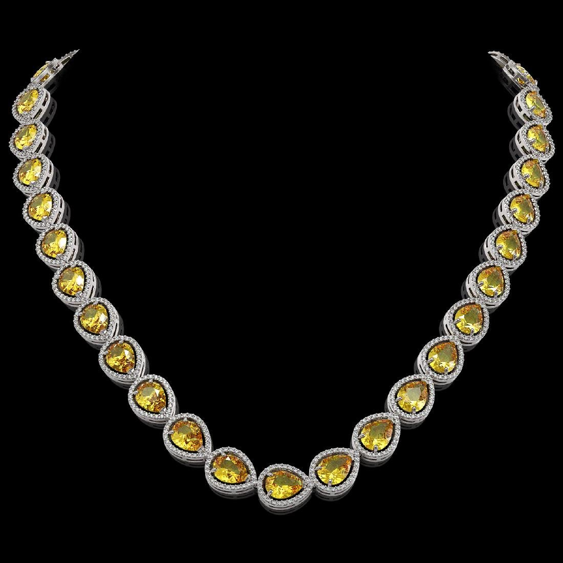 36.8 CTW Fancy Citrine & Diamond Halo Necklace 10K