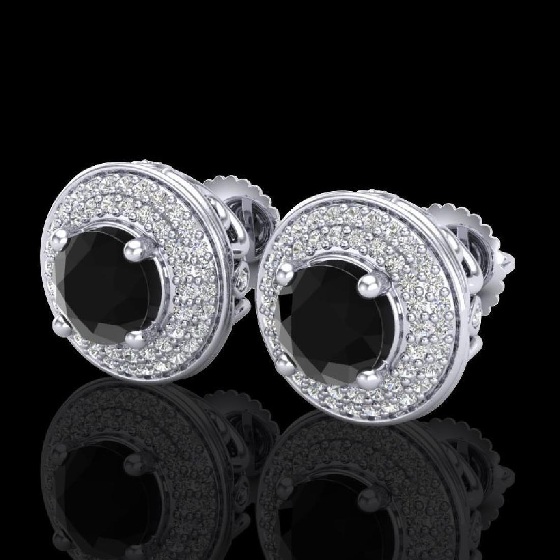 2.35 CTW Fancy Black Diamond Solitaire Art Deco Stud
