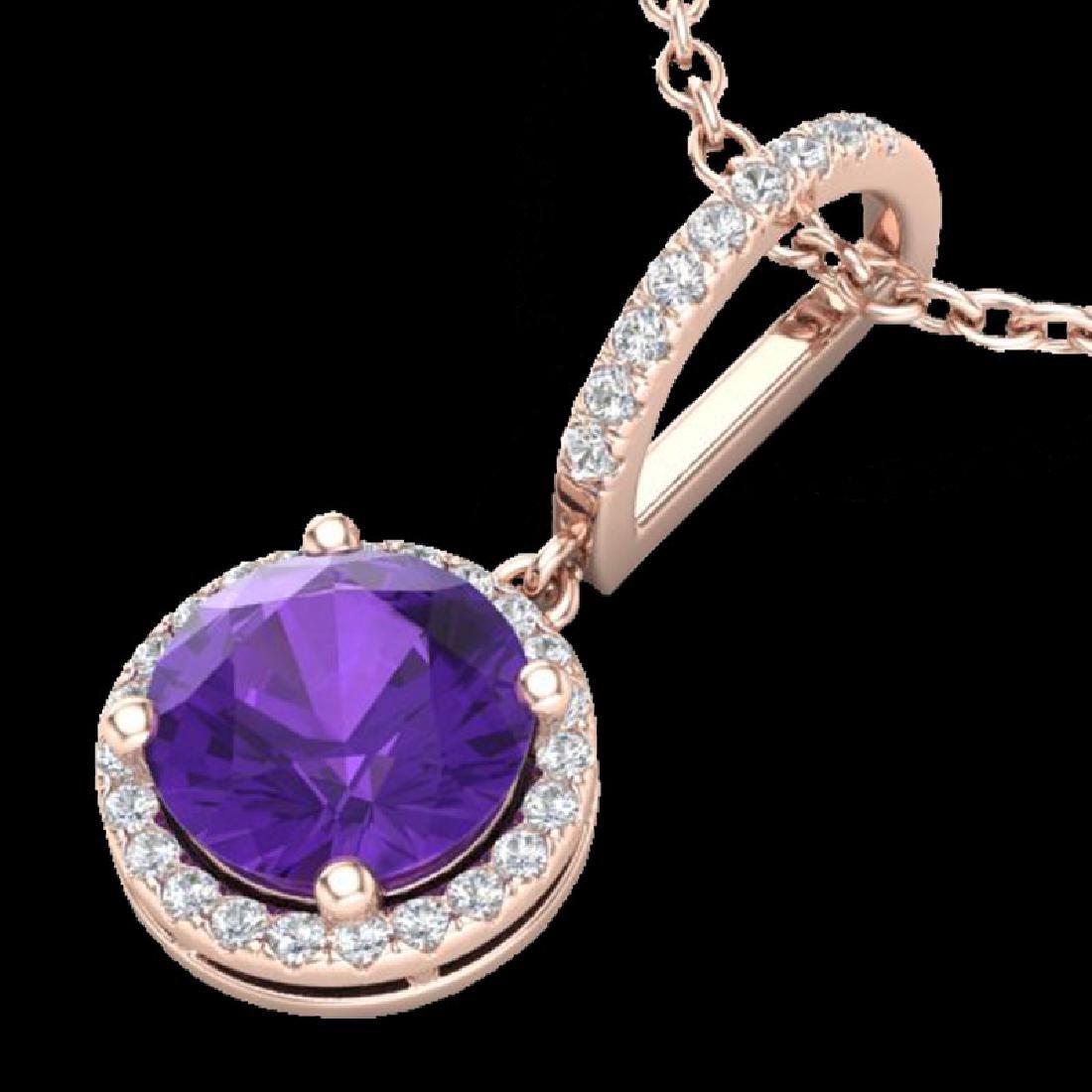 2 CTW Amethyst & Micro Pave VS/SI Diamond Necklace