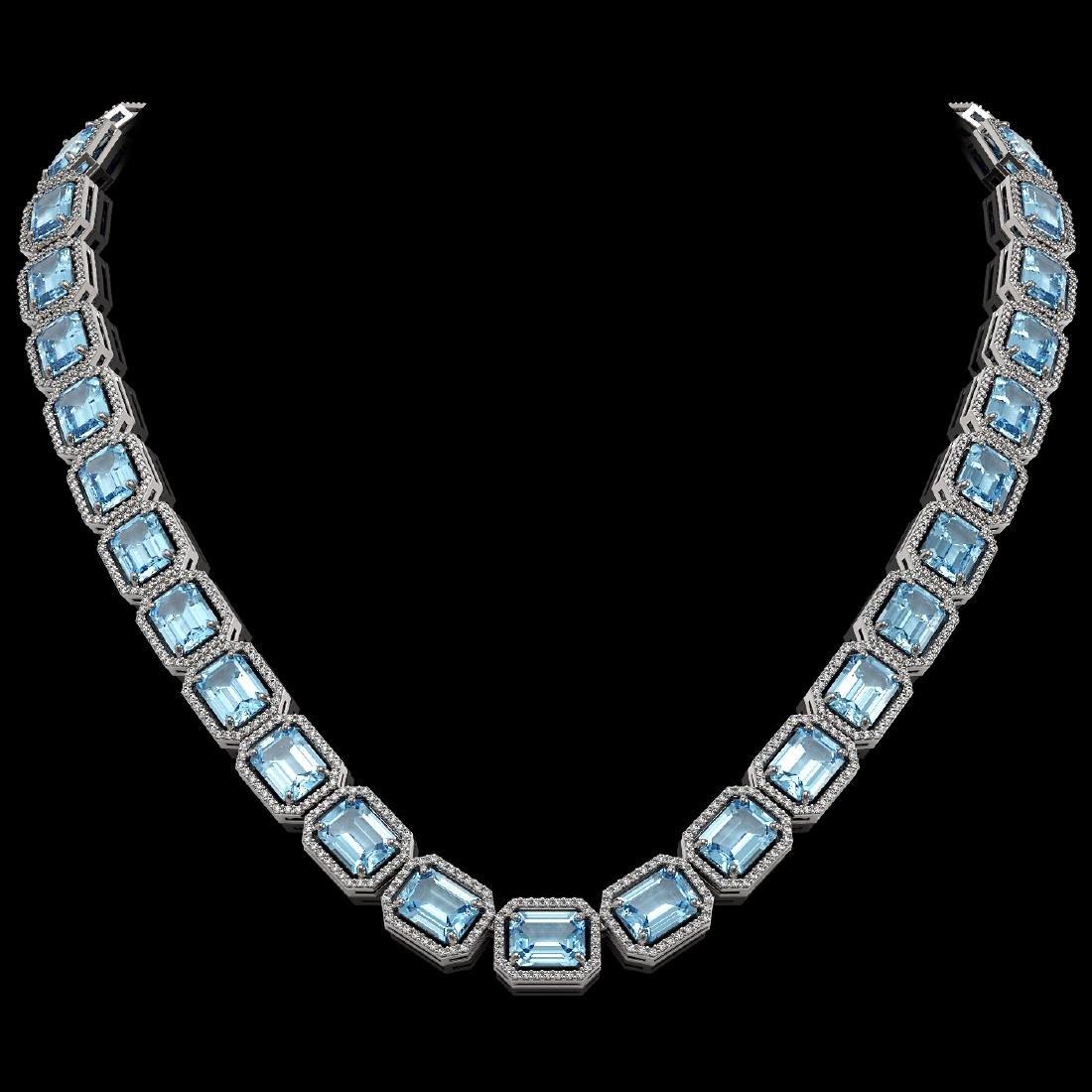 80.98 CTW Aquamarine & Diamond Halo Necklace 10K White