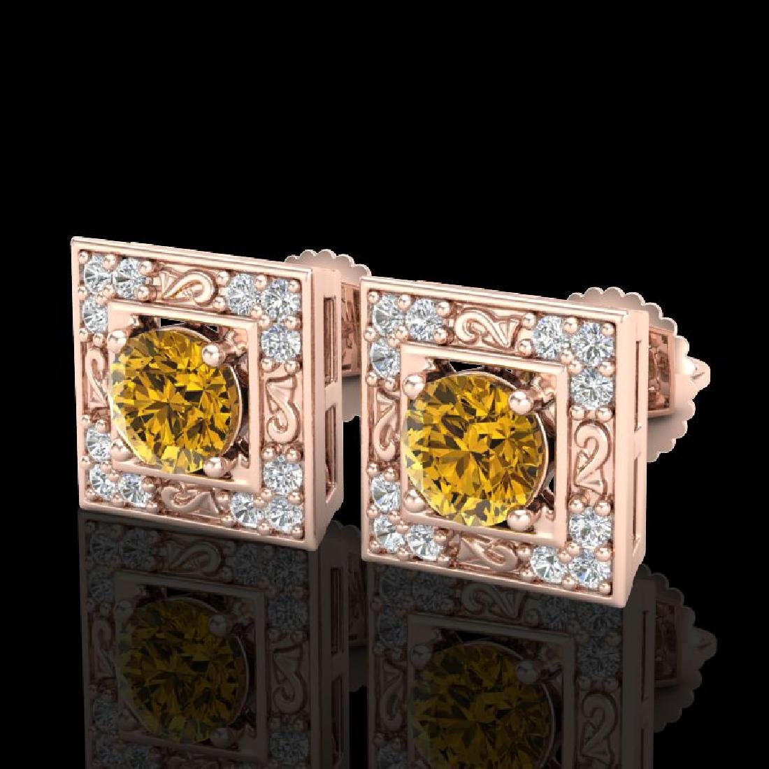 1.63 CTW Intense Fancy Yellow Diamond Art Deco Stud