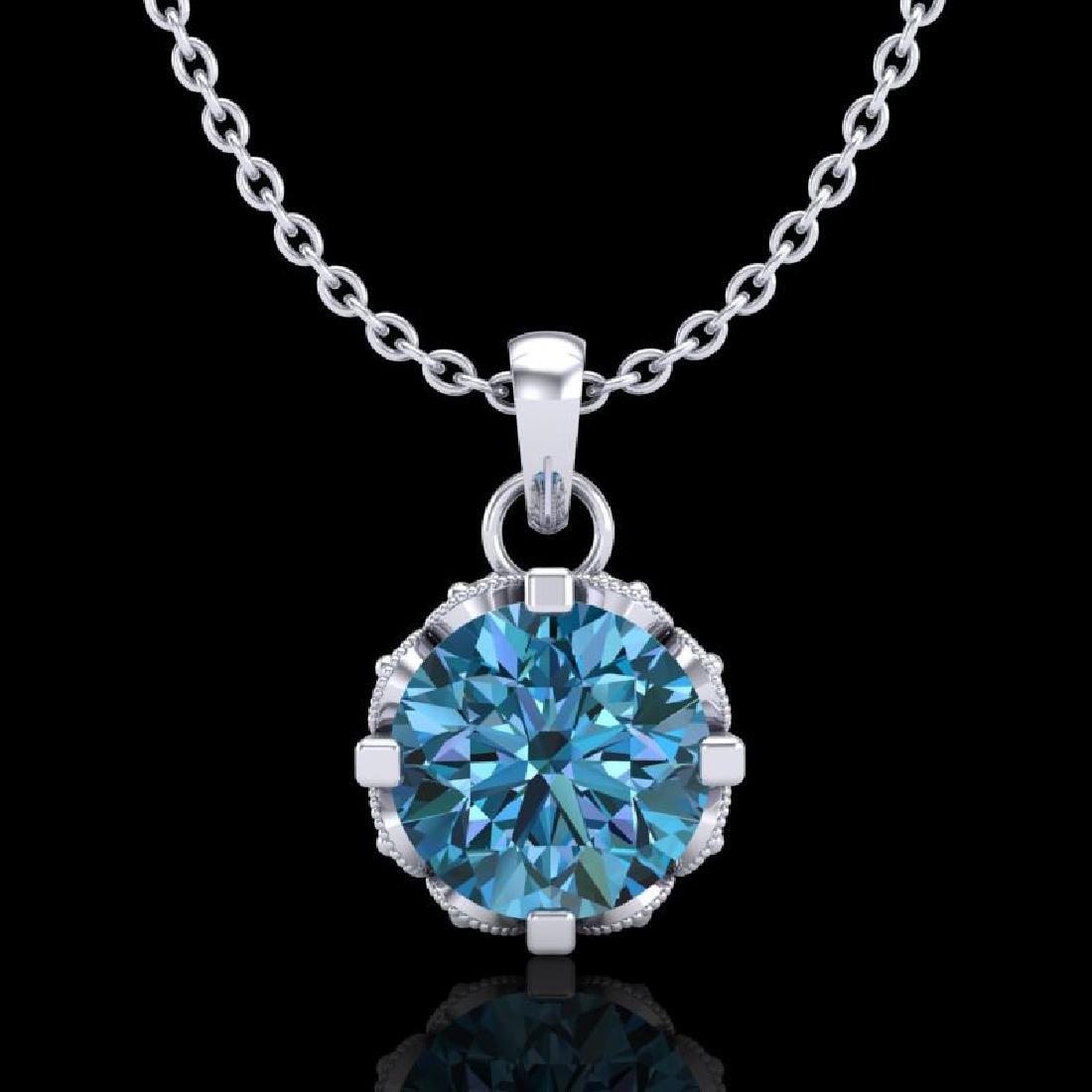 0.85 CTW Fancy Intense Blue Diamond Solitaire Art Deco