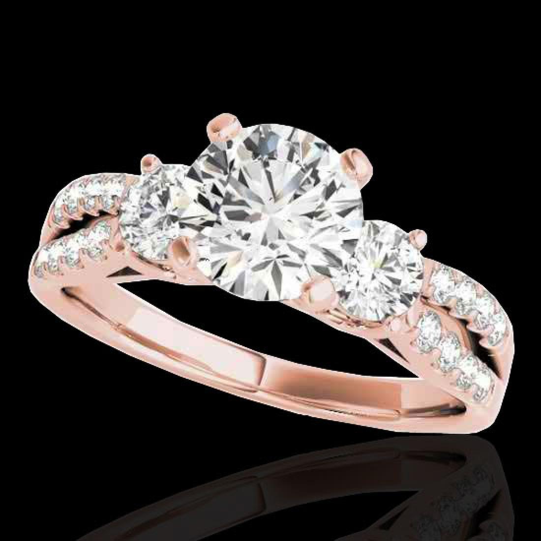 1.75 CTW H-SI/I Certified Diamond 3 Stone Ring 10K Rose