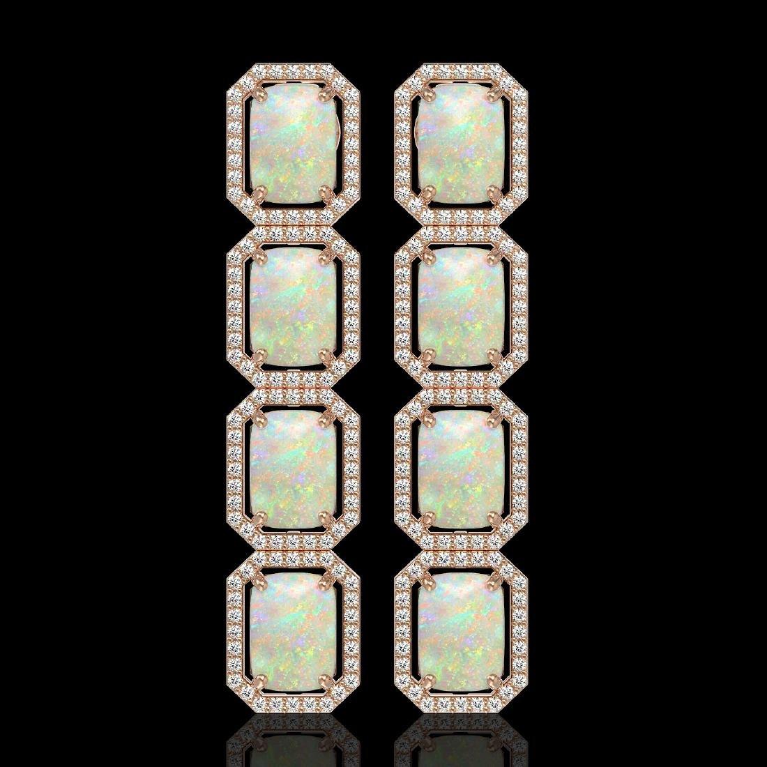 12.99 CTW Opal & Diamond Halo Earrings 10K Rose Gold
