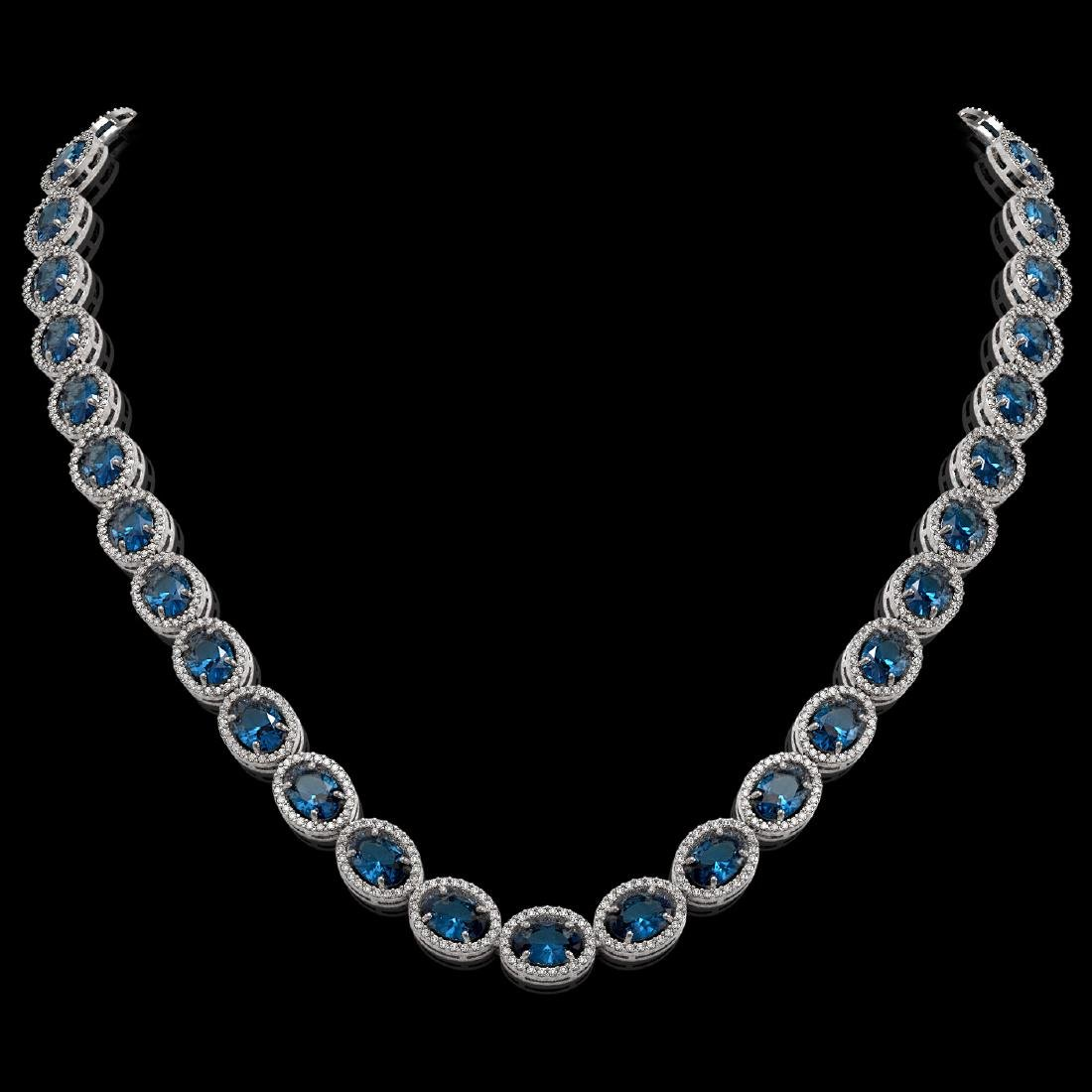 55.41 CTW London Topaz & Diamond Halo Necklace 10K