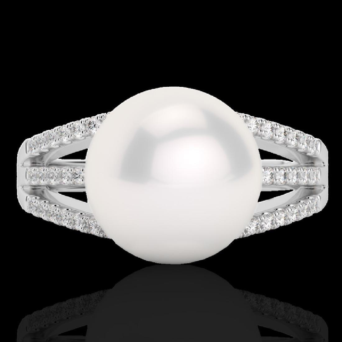 0.30 CTW Micro Pave VS/SI Diamond & Pearl Designer Ring