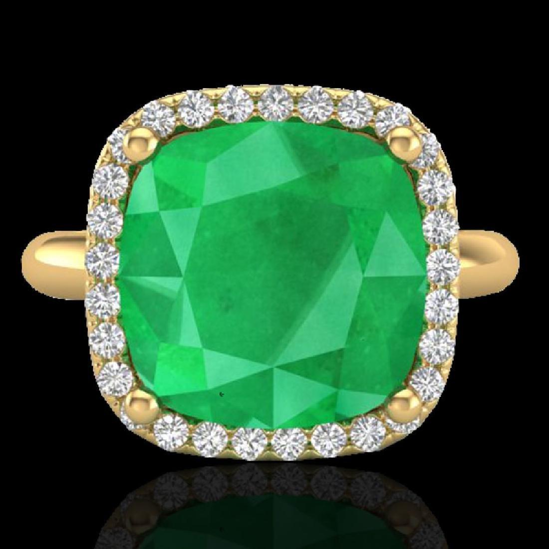 6 CTW Emerald And Micro Pave Halo VS/SI Diamond Ring