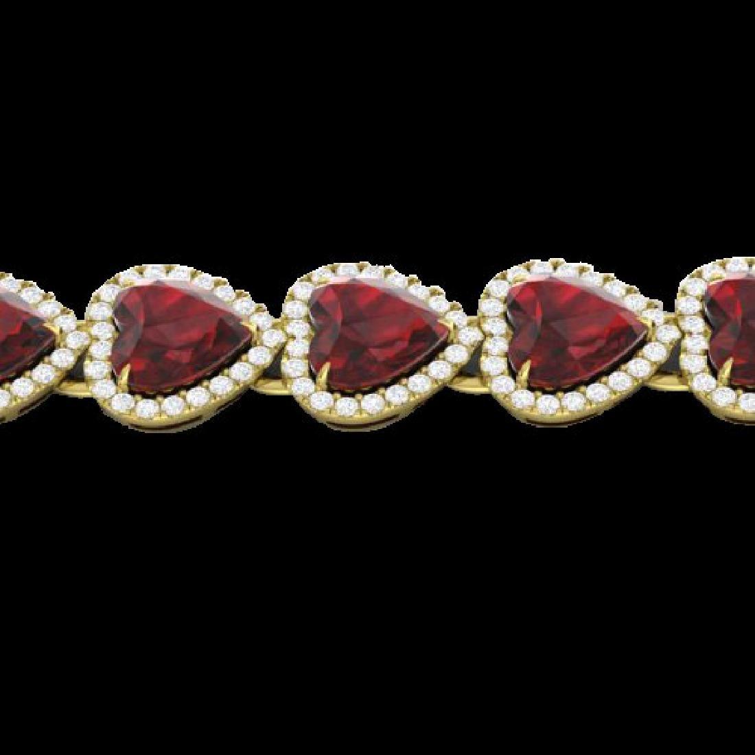 25 CTW Garnet & Micro Pave VS/SI Diamond Bracelet Heart