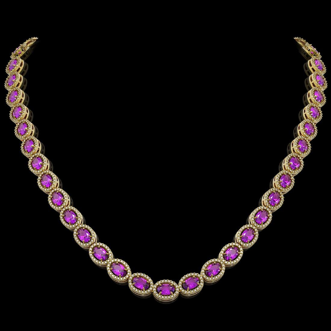 29.38 CTW Amethyst & Diamond Halo Necklace 10K Yellow