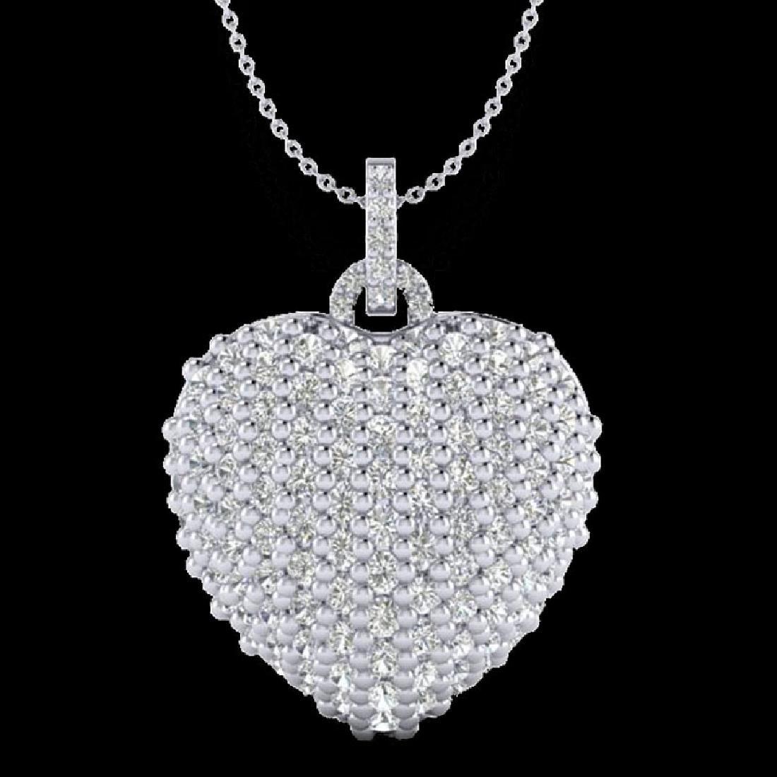 3 CTW Micro Pave VS/SI Diamond Designer Heart Necklace