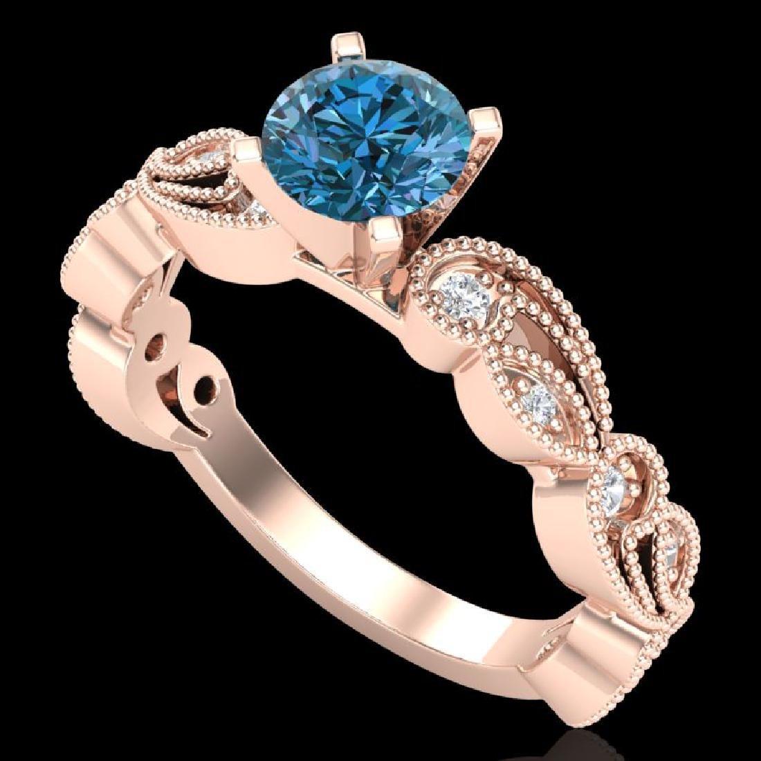 1.01 CTW Fancy Intense Blue Diamond Solitaire Art Deco