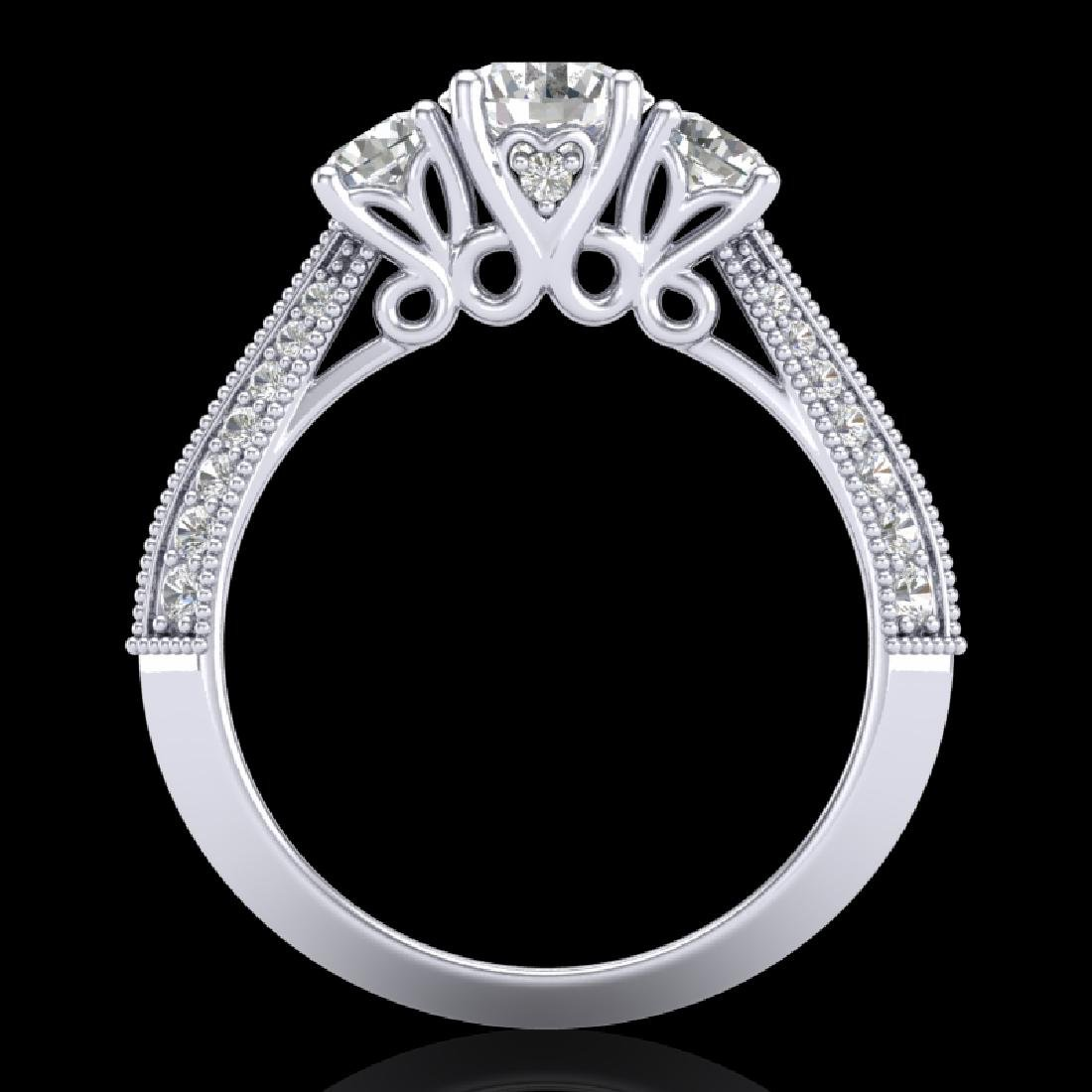 1.81 CTW VS/SI Diamond Art Deco 3 Stone Ring 18K White
