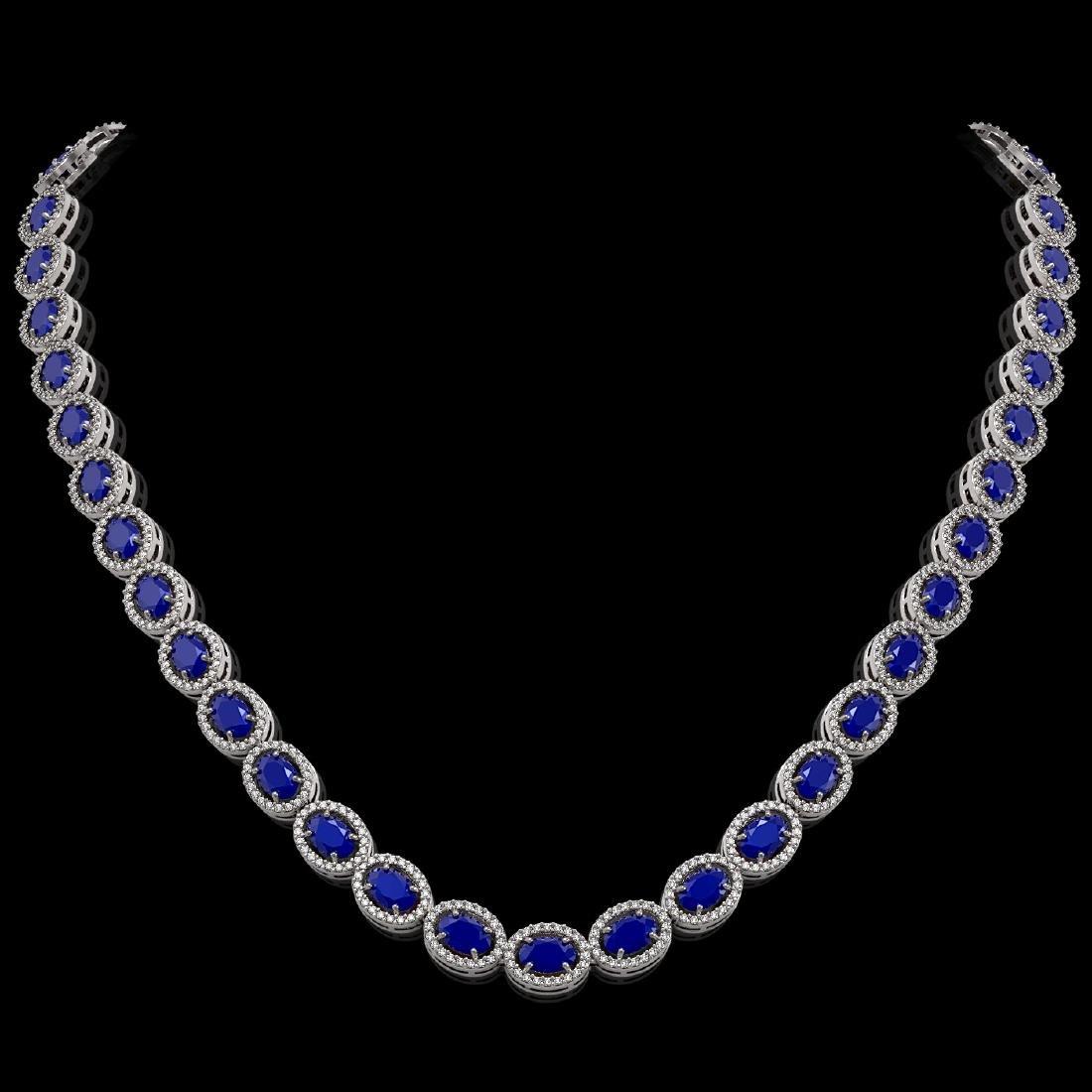 34.11 CTW Sapphire & Diamond Halo Necklace 10K White
