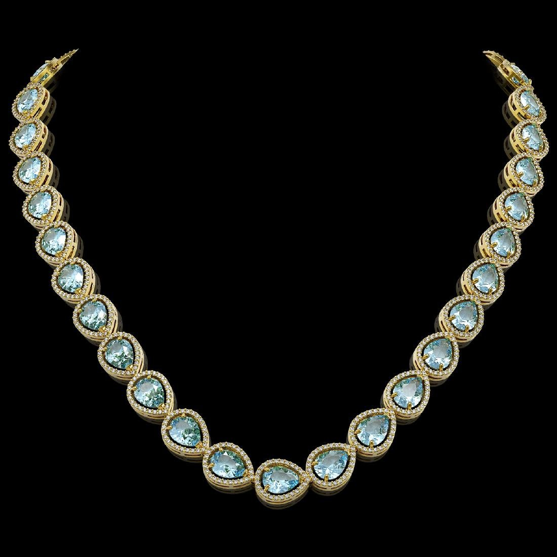 41.6 CTW Aquamarine & Diamond Halo Necklace 10K Yellow