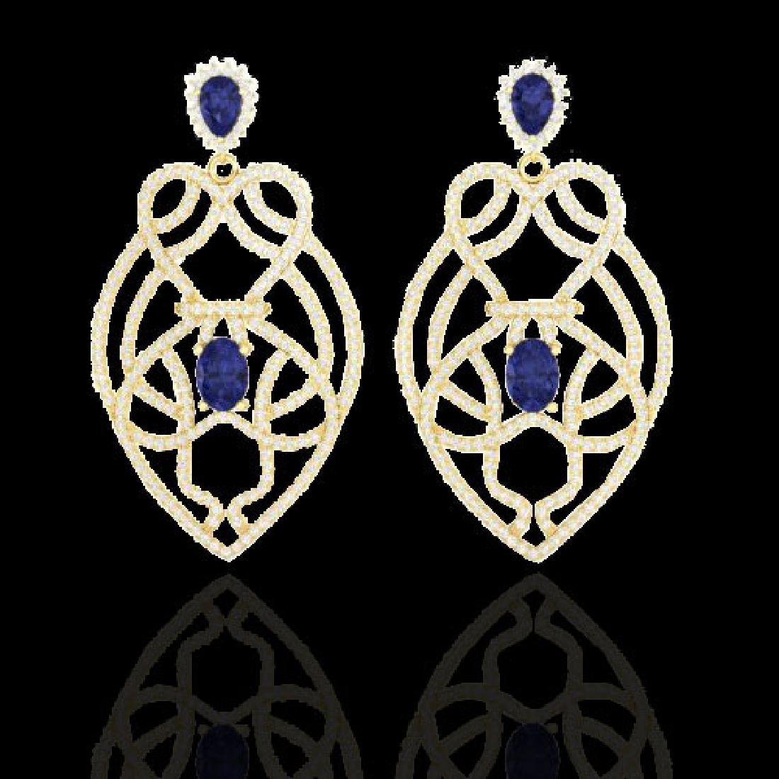 7 CTW Tanzanite & Micro Pave VS/SI Diamond Earrings