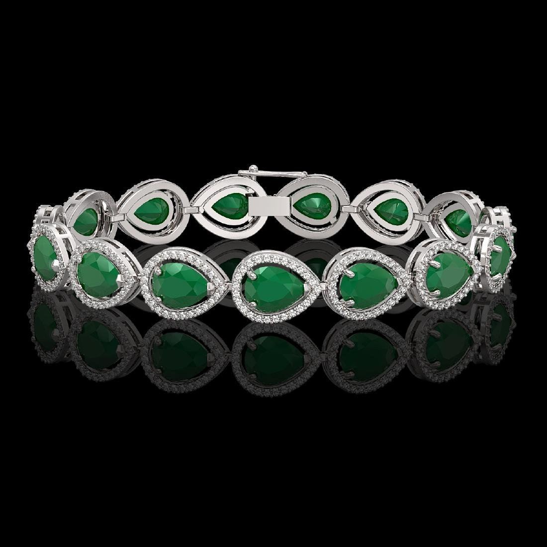30.06 CTW Emerald & Diamond Halo Bracelet 10K White