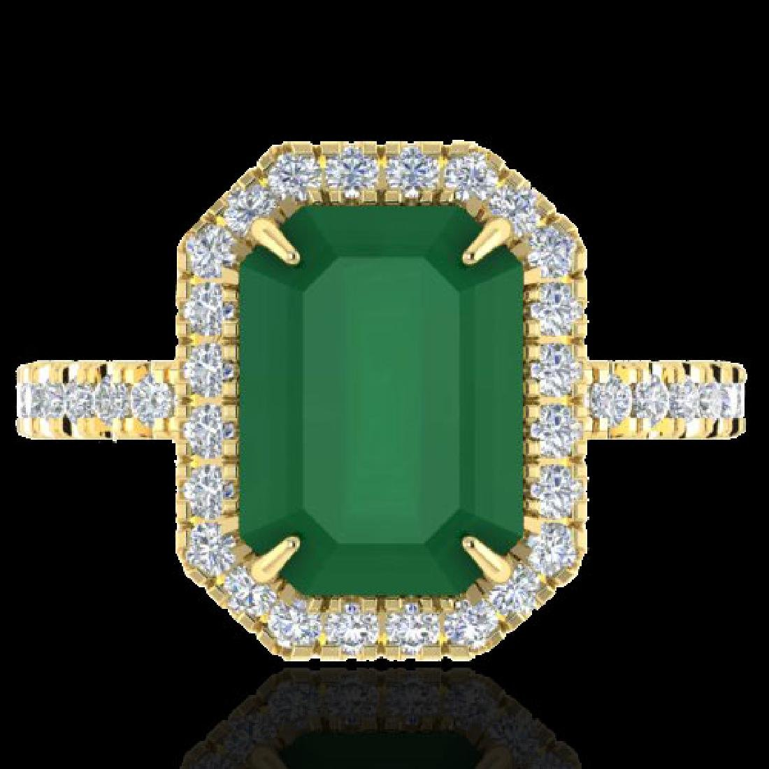 5.33 CTW Emerald And Micro Pave VS/SI Diamond Halo Ring