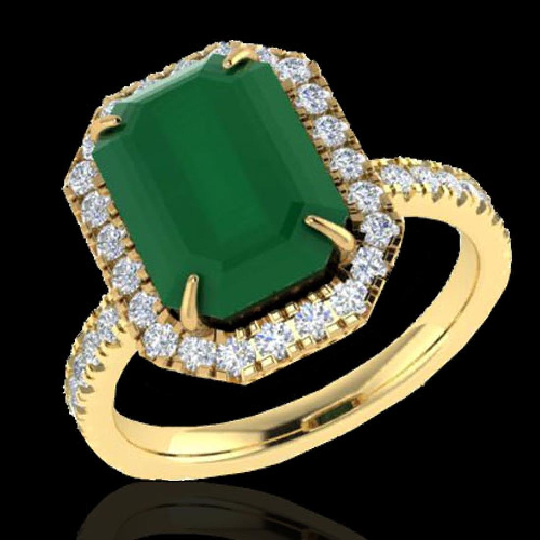 5.33 CTW Emerald And Micro Pave VS/SI Diamond Halo Ring - 2