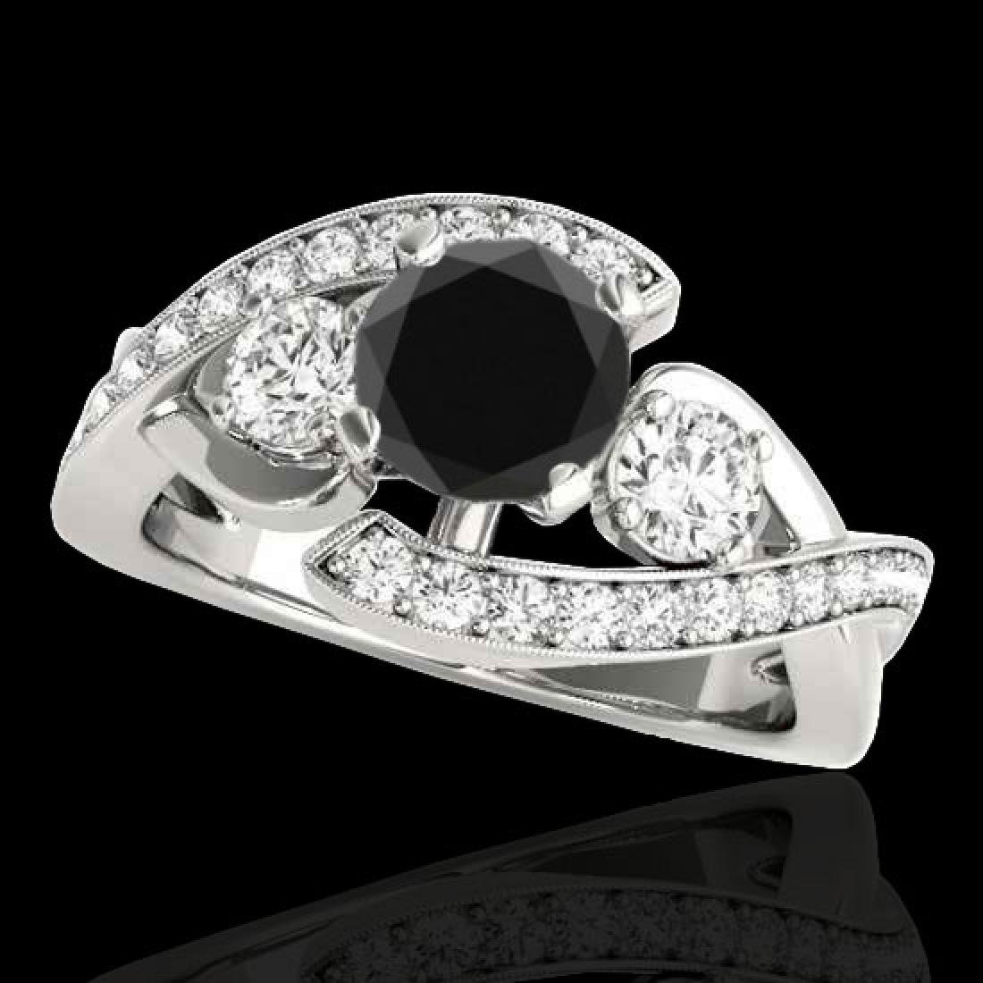 1.76 CTW Certified VS Black Diamond Bypass Solitaire