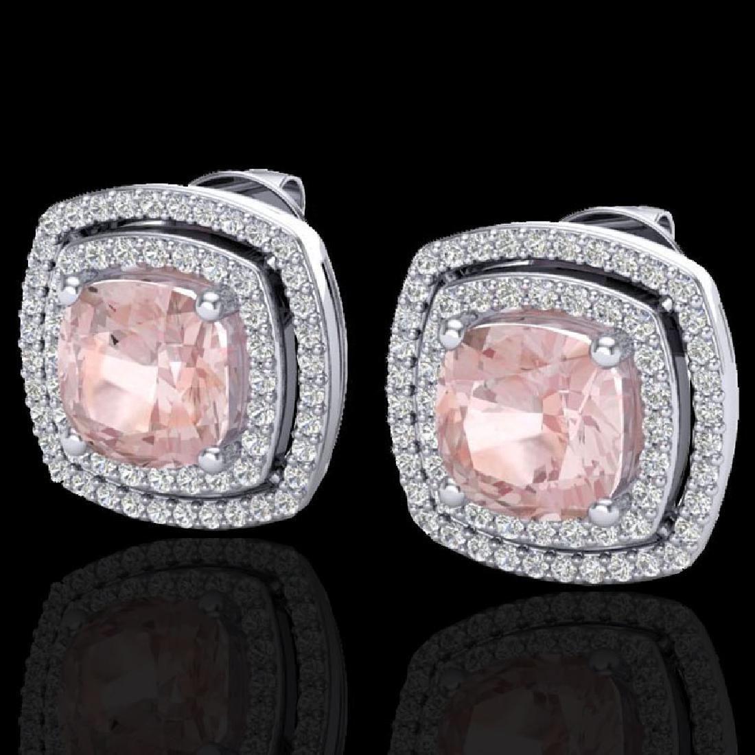 3.95 CTW Morganite & Micro Pave VS/SI Diamond Halo