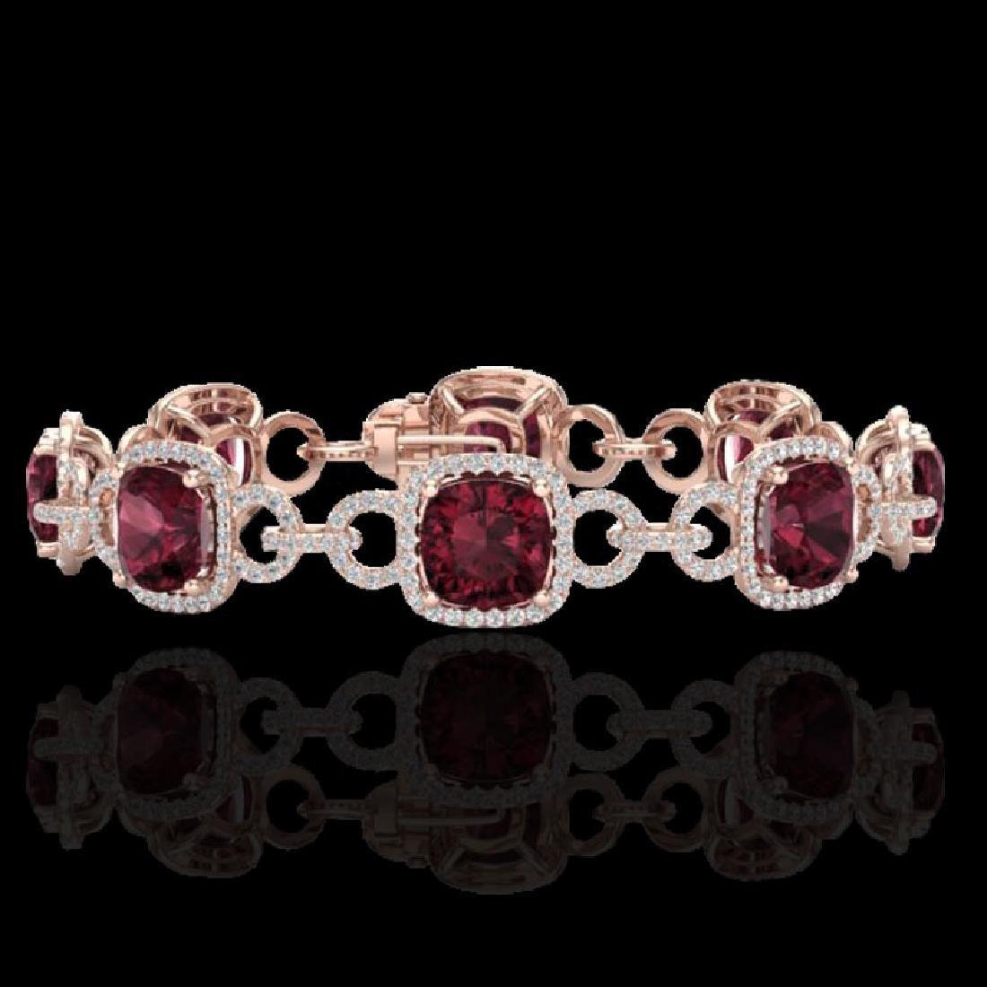 30 CTW Garnet & Micro VS/SI Diamond Bracelet 14K Rose