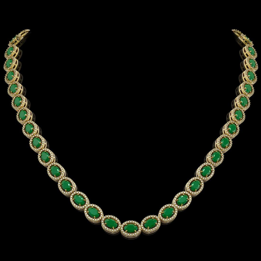34.11 CTW Emerald & Diamond Halo Necklace 10K Yellow