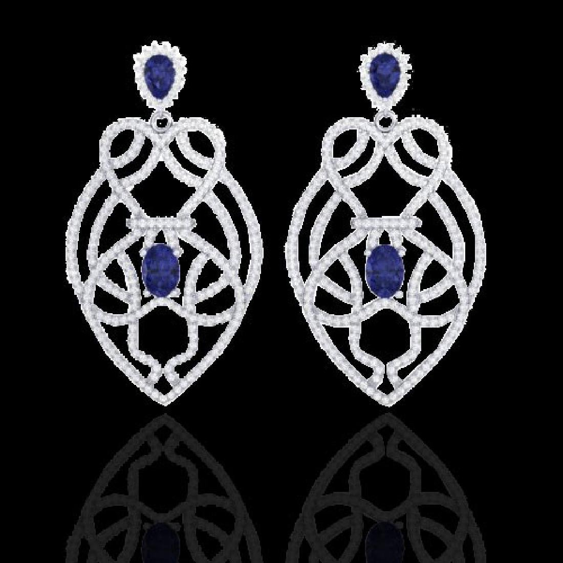 7 CTW Tanzanite & Micro VS/SI Diamond Heart Earrings